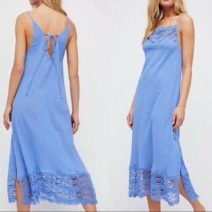 NWT Free People Intimately Blue Abbie Dress Small